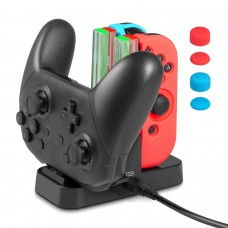 Charging Dock for Nintendo Switch Joy-Con, Keten 4 in 1 Charger Stand for Joy-Con and Pro Controller with Additional 6 in 1 Silicone Case and 1 USB Type-C Cable