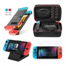 Keten 13 in 1 Nintendo Switch Accessory Kit, include Nintendo Switch Travel Carrying Case/Switch Clear Cover Case/Adjustable Stand/HD Screen Protector (2 Packs)