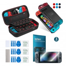 Keten 11 in 1 Nintendo Switch Accessory Kit, include Nintendo Switch Carrying Case / Switch Protective Case / PET Screen Protector (3 Packs)