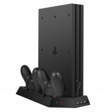 Keten Soporte Vertical PS4 Pro con Estación de Carga Para Mandos con Ventilador de Refrigeración + Hub de 3 Puertos USB - Soporte de Refrigeración Para Playstation 4 Accesorios PS4, no para PS4 / PS4 Slim