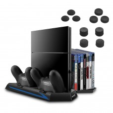 Keten PS4 Vertical Stand with Cooling Fan Controller Charging Station Game Storage and 3 Port USB Hub- An All-In-One Area