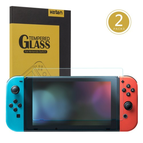 Keten Screen Protector for Nintendo Switch (2-Pack), Tempered Glass 9H Hardness/ Bubble Free/ Anti-Scratch/ Anti-Fingerprint Protective Screen Film for Nintendo Switch 2017
