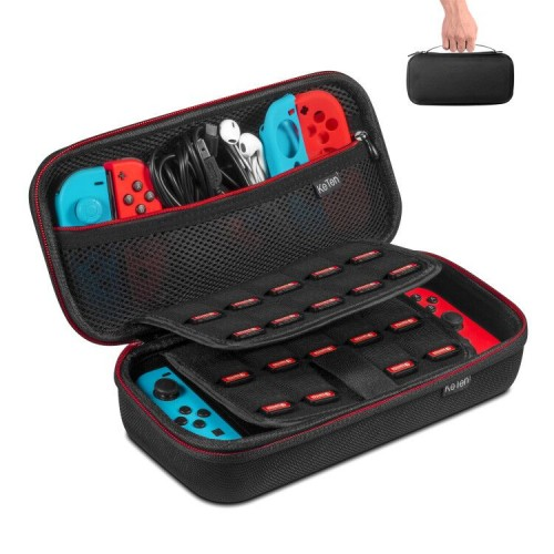 Keten Carry Case for Nintendo Switch, Protective Hard Portable Travel Pouch Shell with 19 Games Cartridge Holders for Switch Console, Games, Joy-Con and Other Accessories (Black)