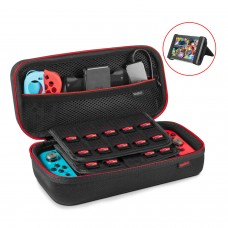 Nintendo Switch Case – Keten Hard Portable Travel Carrying Case with Large Pouch for Switch Console, AC Adapter, Joycon Grip, 19 Game and Other Switch Accessories