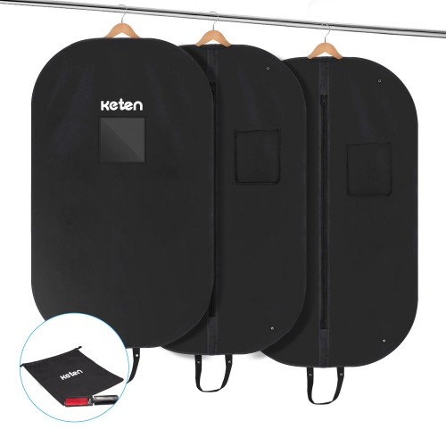 Keten 3 x Premium Garment Bag with Shoe Bag and Lint Brush – 100 x 60 cm Suit Bag – High-Quality Suit Bag / Coat Cover / Suit Jacket Made of Breathable Material - First-Class Protection for Suits and Dresses, Black