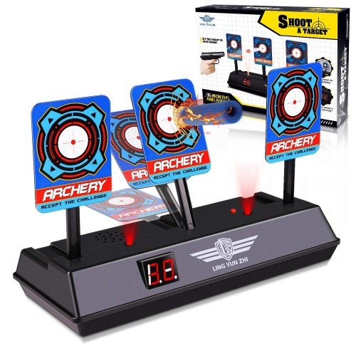 Electronic Digital Target Compatible with Nerf Guns, Keten Auto-Reset Shooting Scoring Targets with Intelligent Light Sound Effect for N-Strike Elite/Mega/Rival Series (Target Only)