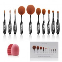 Keten Oval Makeup Brush Set 10 PCS Soft Toothbrush Foundation Brushes Concealer Cosmetics Powder Brush Makeup Tool Set